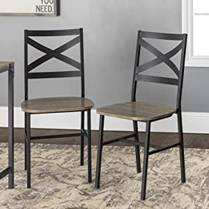 WE Furniture Modern Industrial Farmhouse Wood Dining Chairs, Set Of 2, Grey/Brown