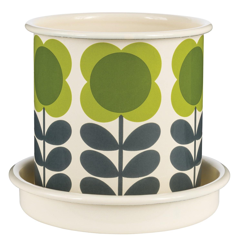Orla Kiely | Small | Spot Flower Stem | Plant Pot | Saucer Included | Enamel Wild and Wolf