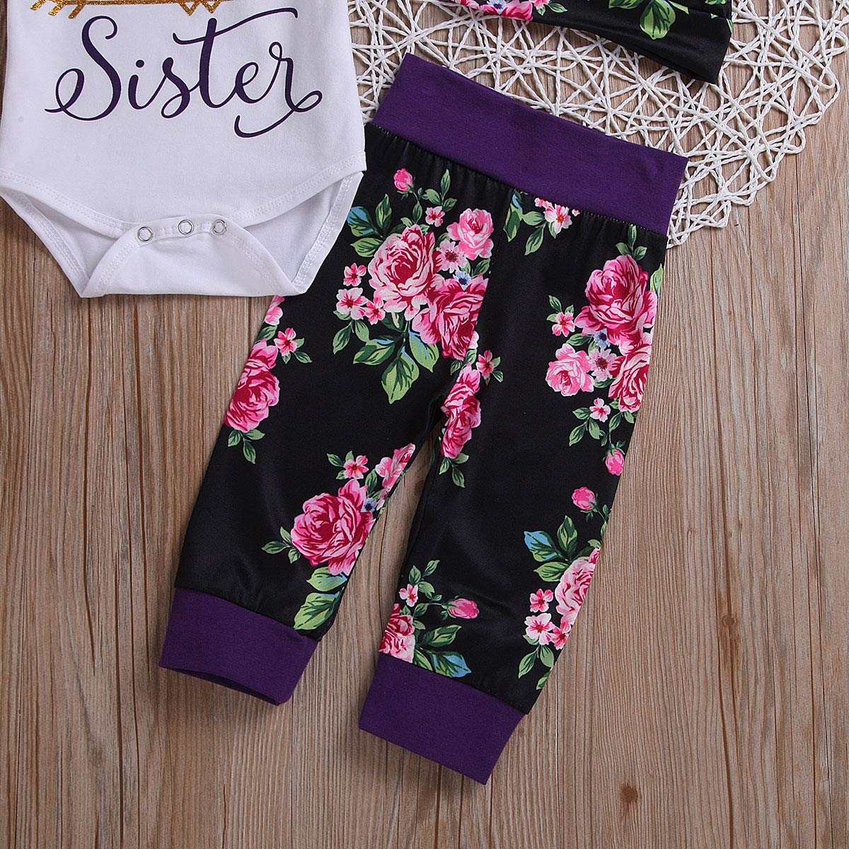 Girls Matching Outfits Little and Big Sister T-Shirt Romper Floral Pants Set