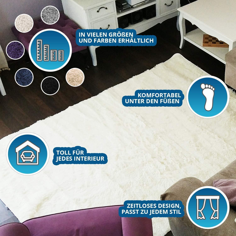 Descente de lit Chambre Grande Taille Tapis Poils Longs Moderne tapid Moquette Poil Long tapi Grise 160 x 230 cm Amazinggirl Tapis Salon Shaggy