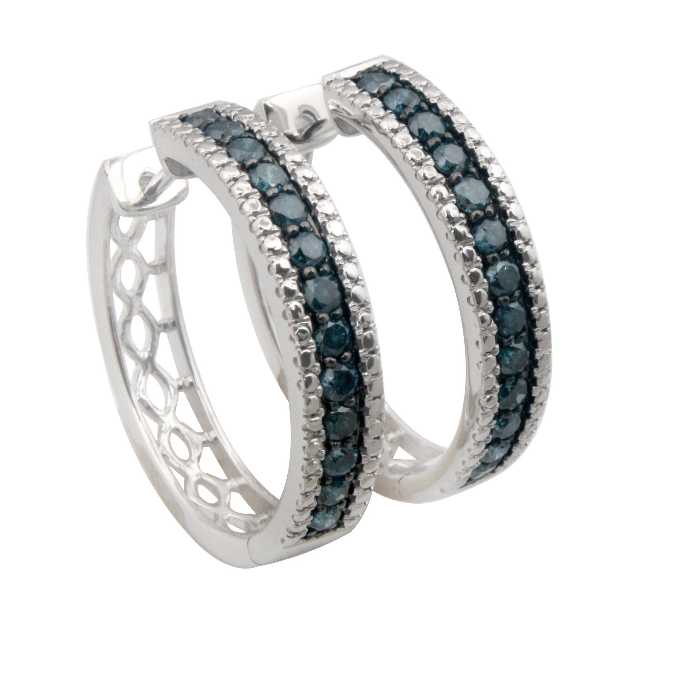 Brand New 1.00 Carat Round Brilliant Cut Blue Diamond Hinge with notched post Hoop Earring, 10k White Gold