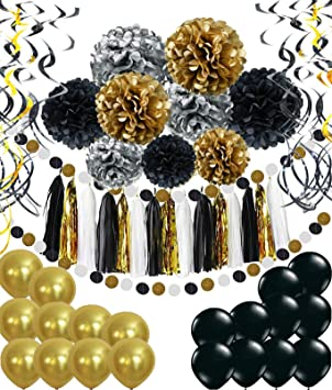 Party Deko Set Gold Silber Schwarz Pompoms Quasten Girlande