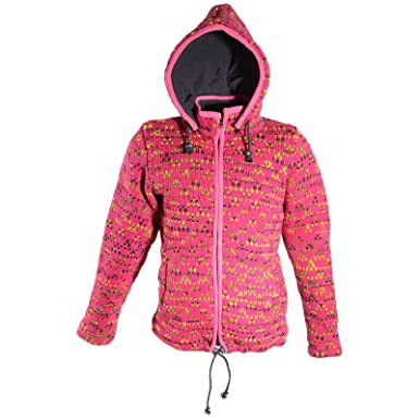 3c11c28923 KUNST UND MAGIE Hippie Goa Nepal Strickjacke Poncho - Damen-Wolljacke mit  Abnehmbarer Kapuze Pink