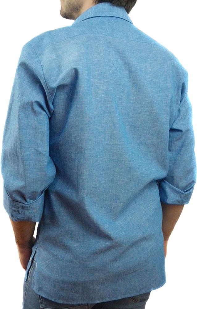 Camisa Guayabera Caballero Lino Azulón (s): Amazon.es: Ropa y accesorios