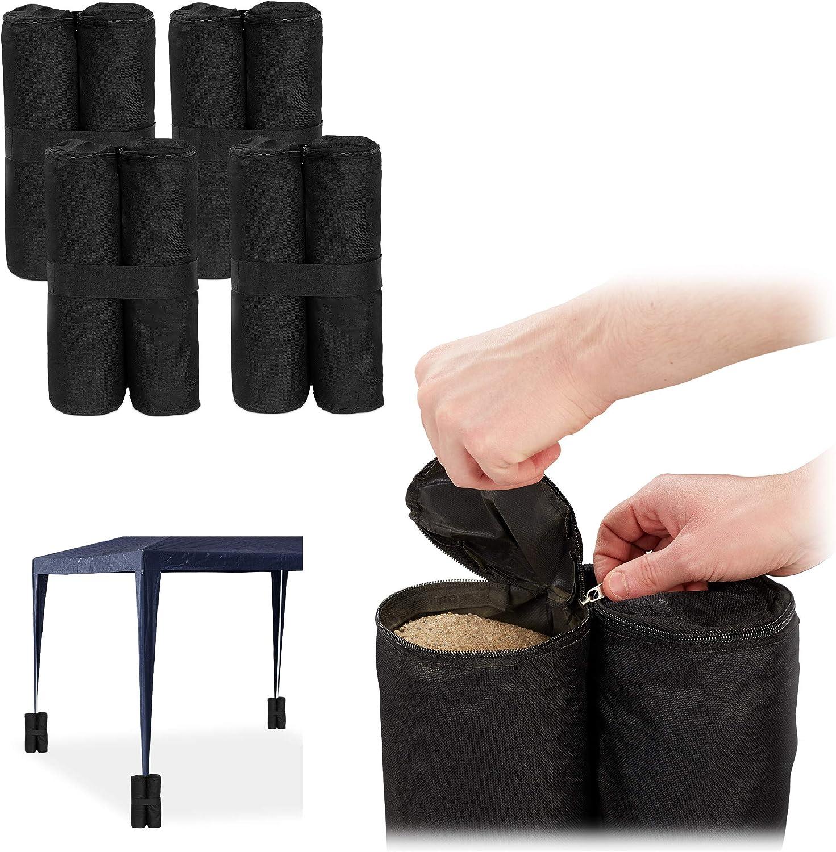 Relaxdays Peso para Carpa, Pesas para Patas, Rellenar con Arena, 10 kg por Pata, 4 Uds., Negro