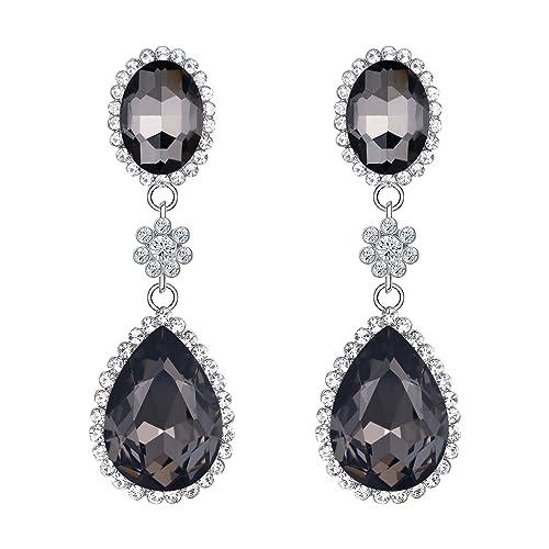 811963cc7 EleQueen Women's Wedding Bridal Earrings Austrian Crystal Vintage Teardrop  Earrings Jerwerly For Women Black