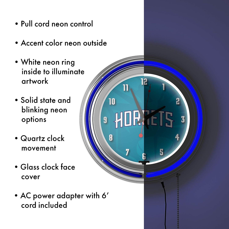 Fade Charlotte Hornets NBA Chrome Double Rung Neon Clock