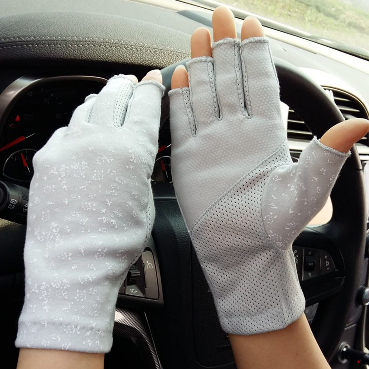 MioCloth Women Driving Gloves Breathable Summer UV Sun Protection Fingerless Non Slip Driving Cycling Gloves Gift