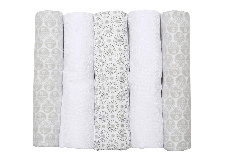 Motherhood 100 Percent Natural Cotton Burp Cloths (2 x flannel sheets + 3 x muslin squares, Blue classics) 011/999
