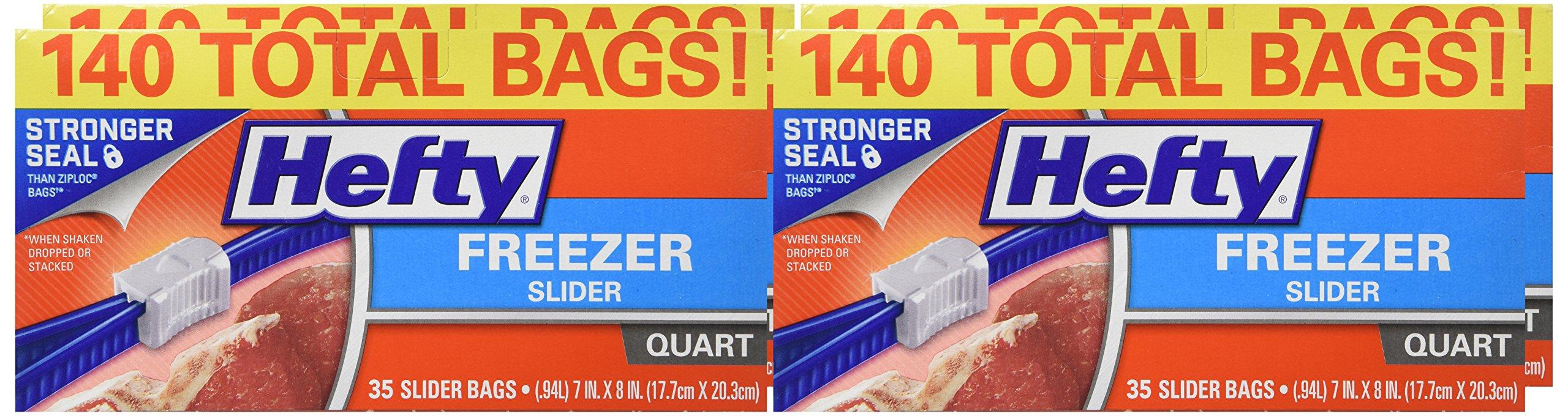 Hefty Slider Freezer Bags - Quart Size, 140 Count