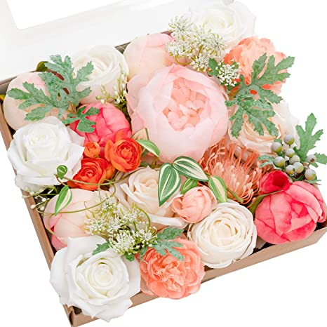 Amazon Com Ling S Moment Artificial Flowers Peony Flowers Combo For Diy Wedding Bouquets Centerpieces Arrangements Party Baby Shower Home Decorations Home Kitchen
