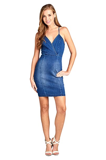 3cde80c51a Khanomak Women s Wrap Style V Neck Cami Adjustable Spaghetti Straps Cross  Back Denim Stretch Bodycon Mini Dress at Amazon Women s Clothing store