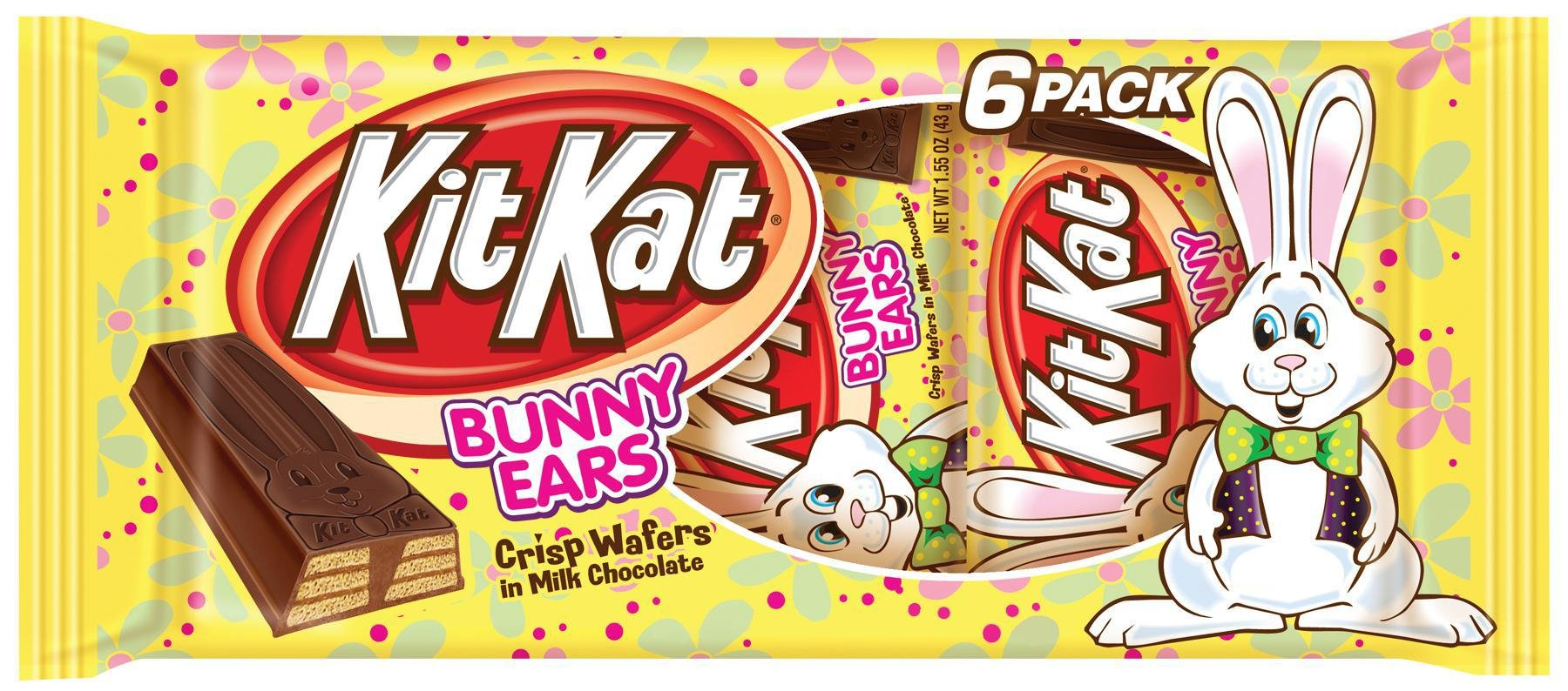 Kit Kat Easter Bunny Ear Bars, Crisp Wafers in Milk Chocolate, 1.55 oz. Bars, 6-Count Packages (Pack of 4)