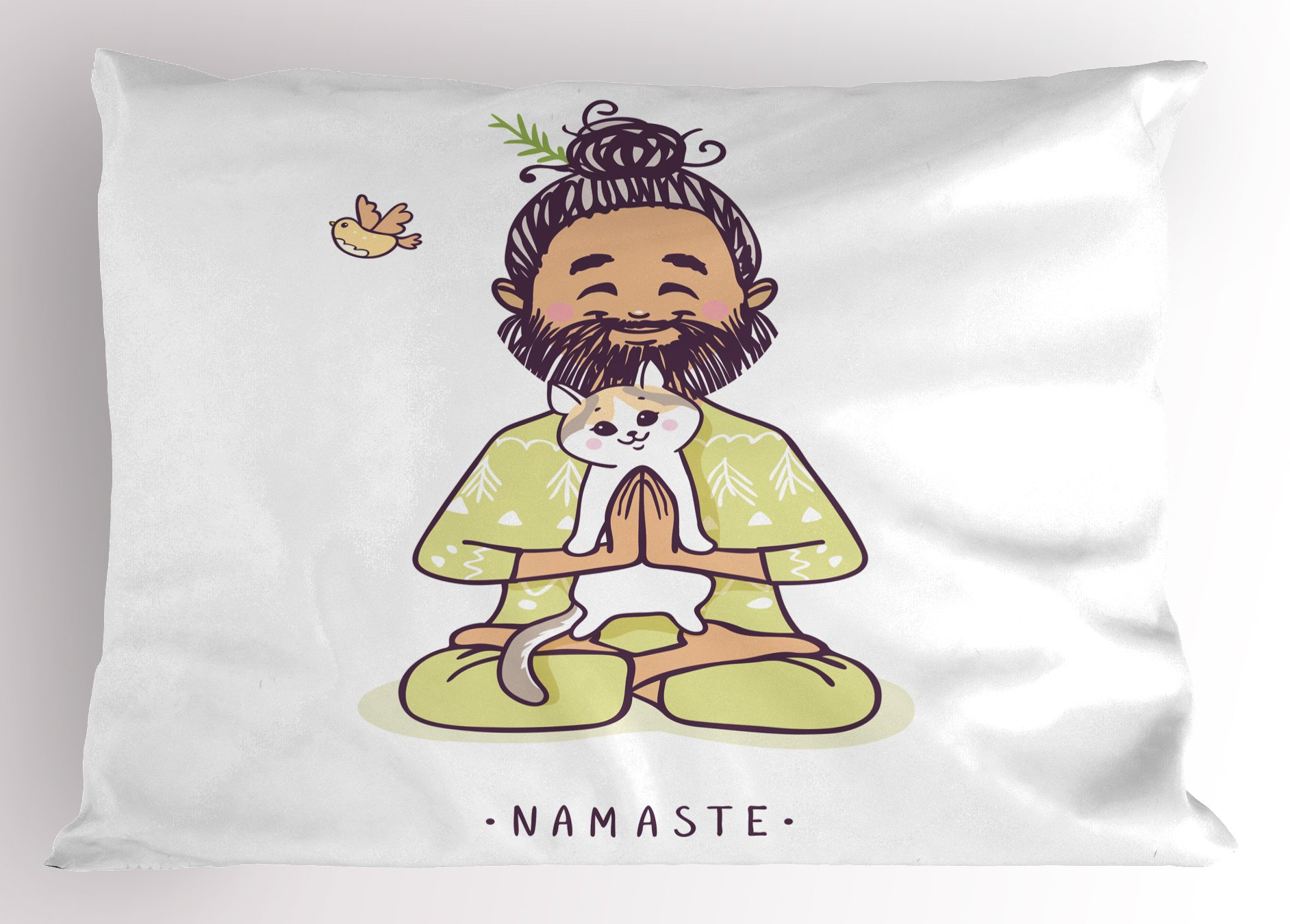 Ambesonne Funny Pillow Sham, Positive Man with Cat in Yoga Greeting Pose Namaste Chakra Animal Love Design, Decorative Standard King Size Printed Pillowcase, 36 X 20 Inches, Pale Green White