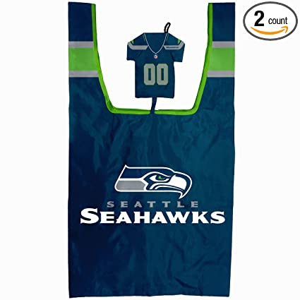 Seattle Seahawks Reusable Grocery Bag with Jersey Style Storage Pouch -  Pack of 2 984fa156e