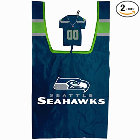 6fef88fbf Seattle Seahawks Reusable Grocery Bag with Jersey Style Storage Pouch -  Pack of 2