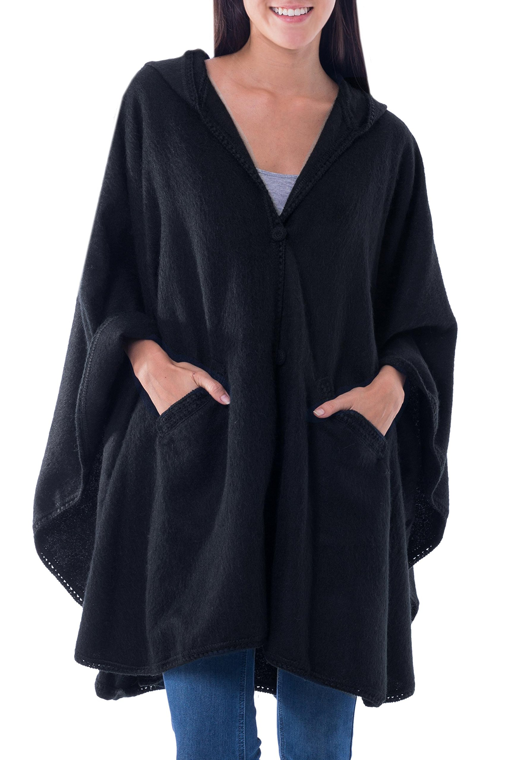 NOVICA Black Alpaca Blend Hooded Ruana Cape, 'Glamorous Night' by NOVICA
