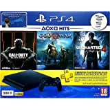 Sony PlayStation 4 Slim 500GB with Uncharted 4, God of War and Call of Duty Black Ops 3 with 3 Months PlayStation Plus Membership (PS4)