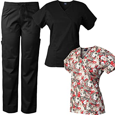 Medgear Comfort Stretch Scrubs Set with Printed Scrub Top Combo 7894-FFRD