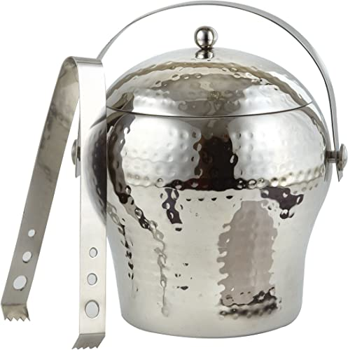 Elegance Hammered Stainless Steel 1.5 Qt Ice Bucket Double Wall w Tongs