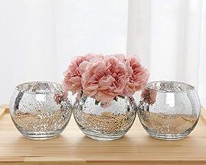 Set of 3 Same Size Bling Vase Round Golden Vase Silver Vase Rose Gold Vase Table Vase Party Vase Wedding Vase Centerpiece