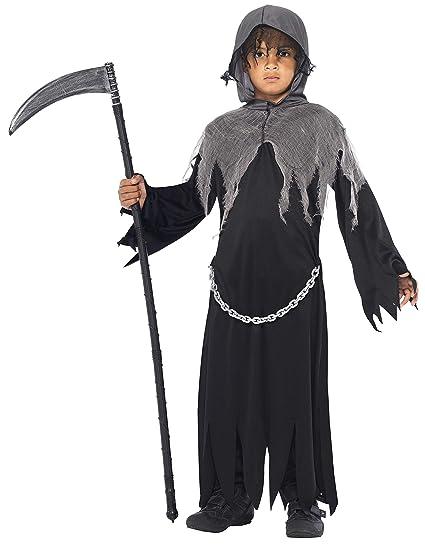 Smiffys Smiffys-35987L Halloween Disfraz de La Muerte, con Capa y Capucha, Color Negro, L-Edad 10-12 años 35987L