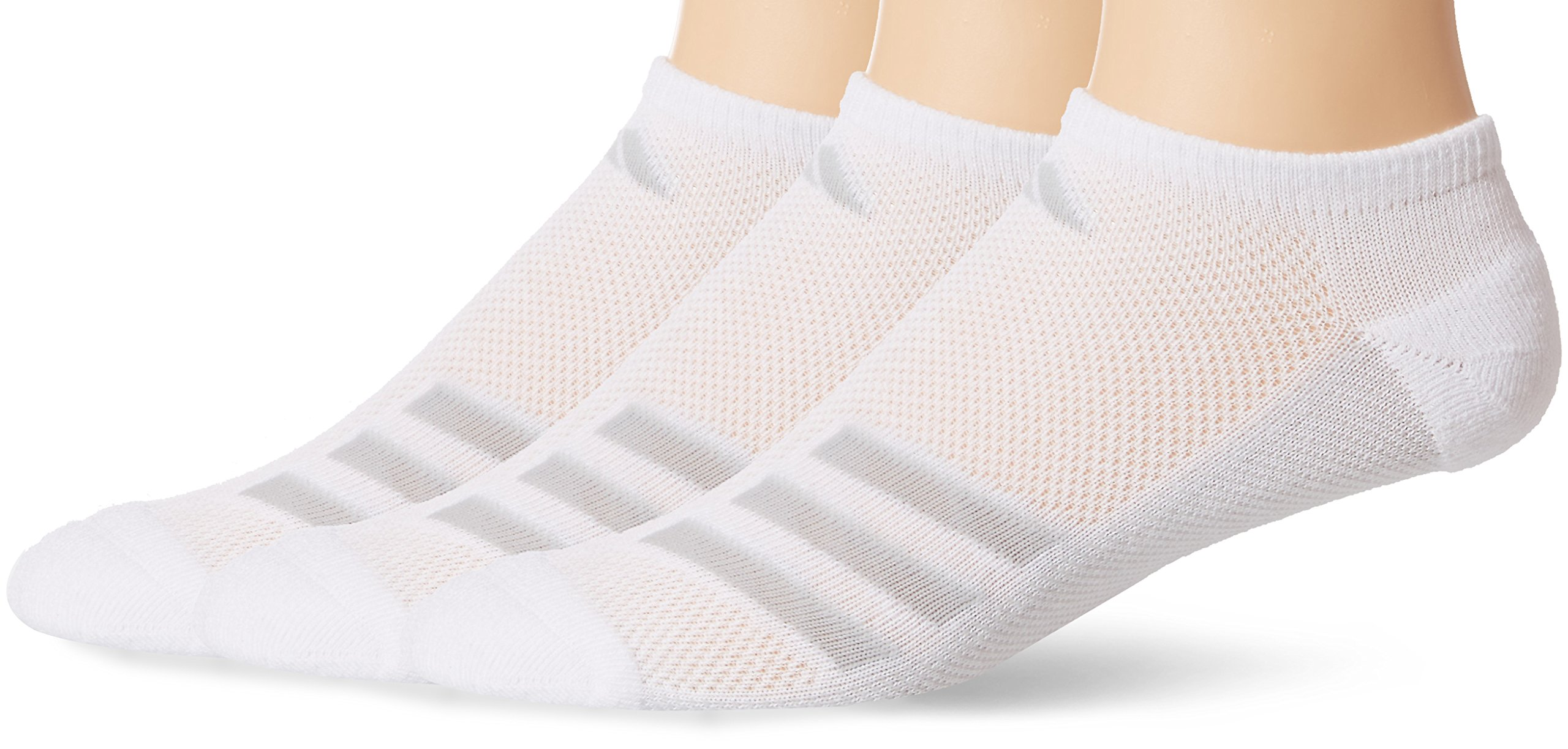 adidas Men's Climacool Superlite No Show Socks (3-Pack), White/Grey/Clear Onix, Size 6-12