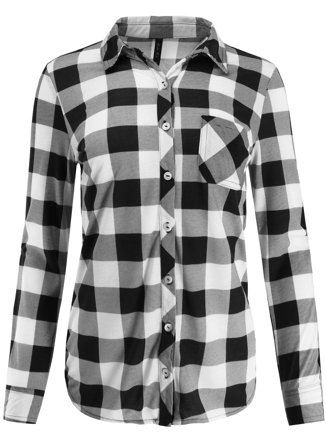 9faf86180 Ladies' Code Women's Knit Plaid Button Down Shirt Roll Up Sleeve product  image