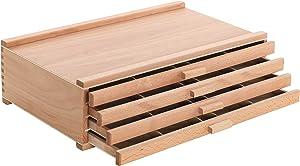 U.S. Art Supply 4 Drawer Wood Artist Supply Storage Box - Pastels, Pencils, Pens, Markers, Brushes