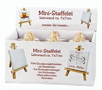 24 Stück Mini Leinwand Keilrahmen Auf Staffelei Im Display Malen