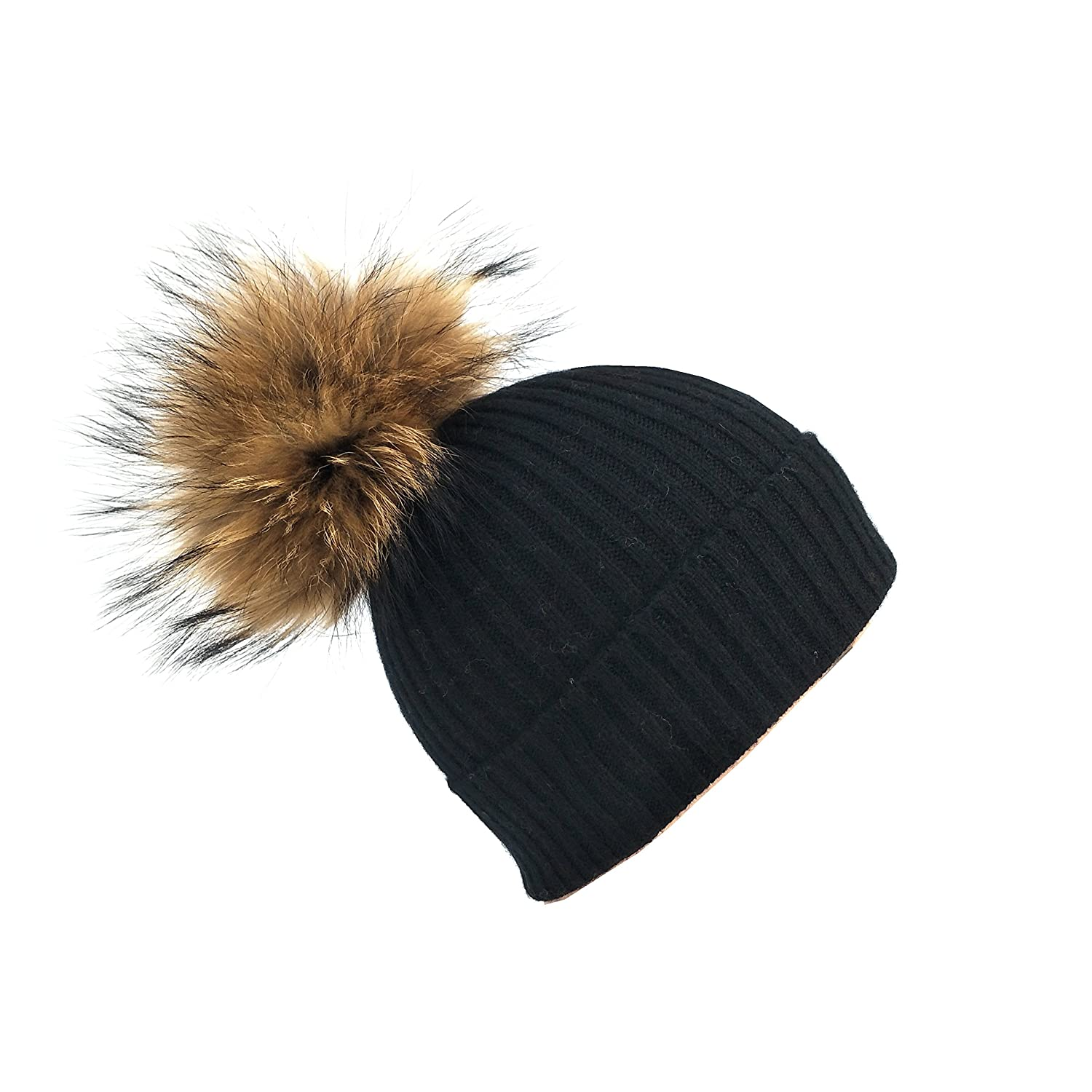2588e1867cb57d Dilly Fashion Womens Girls Winter Knitted 100% Cashmere Beanie Hat with  Detachable Real Fur Pom Pom (Black) at Amazon Women's Clothing store: