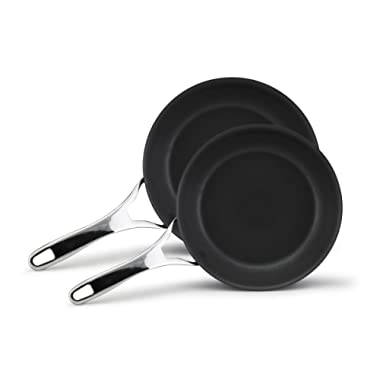 Anolon Nouvelle Copper Hard-Anodized Nonstick Twin Pack French Skillets, 8-Inch and 10-Inch, Dark Gray (LID IS SOLD SEPARATELY )