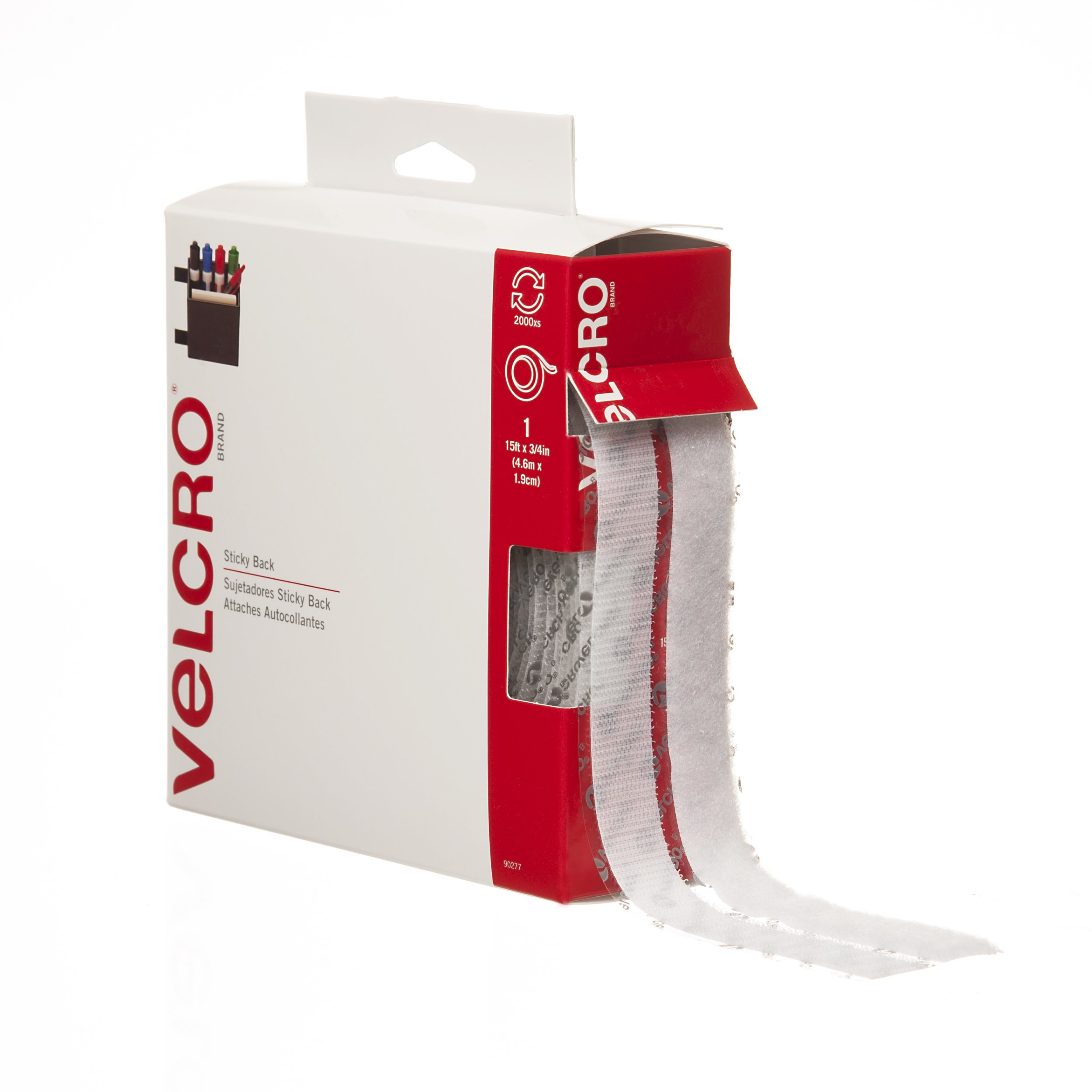 VELCRO Brand - Sticky Back Hook and Loop Fasteners| Perfect for Home or Office | 15ft x 3/4in Tape | White