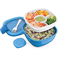 Bentgo Salad - Stackable Lunch Container with Large 54-oz Salad Bowl, 4-Compartment Bento-Style Tray for Toppings, 3-oz…