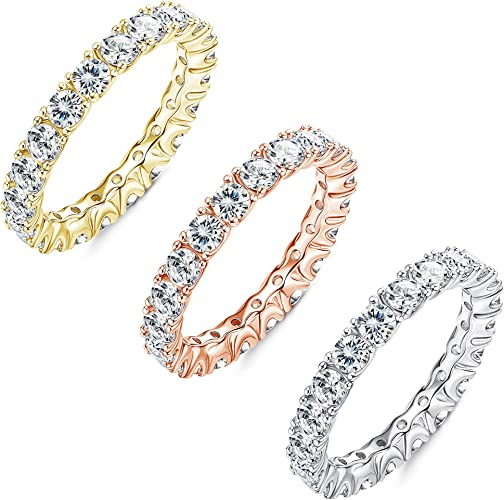 Gold Plate STACKING C.Z Anniversary,Wedding Sterling .925 Sizes 4,5,6,7,8,9,10,