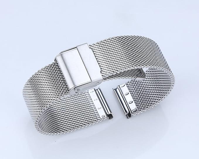 21mm correa de Milanese de metal de lujo para el reloj clásico pulsera de acero suave de los hombres reloj de malla en plata: Amazon.es: Relojes