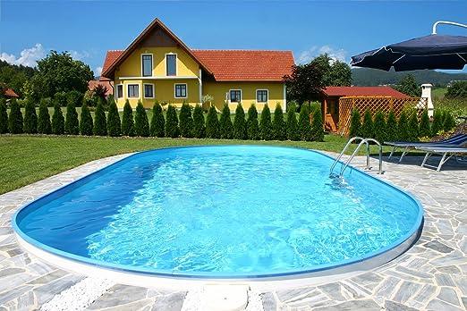 Exclusiva piscina de Pared de Acero, forma oval, 700 x 350 x 150, Juego completo incluye filtro de arena, escalera de acero inoxidable, etc: Amazon.es: Jardín
