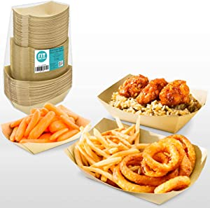 [150 Pack] 1lb 2lb 3lb Kraft Brown Paper Food Trays - Disposable Grease Resistant Serving Plate, Paperboard Boat Basket for Parties Fairs Picnic Carnival Holds Tacos Nachos Fries Hot Corndog, 50 each