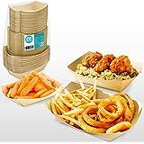 [150 Pack] 1lb 2lb 3lb Kraft Brown Paper Food Trays - Disposable Grease Resistant Serving Plate, Paperboard Boat Basket…