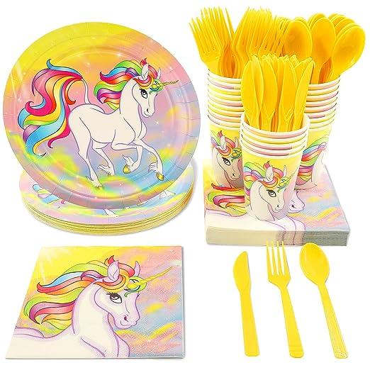 Vajilla desechable – Party Supplies – incluye de plástico cuchillos, cucharas, tenedores, platos de papel, servilletas, vasos