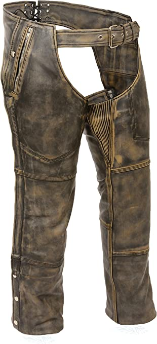 BROWN DISTRESSED LEATHER BIKER CHAPS 2X