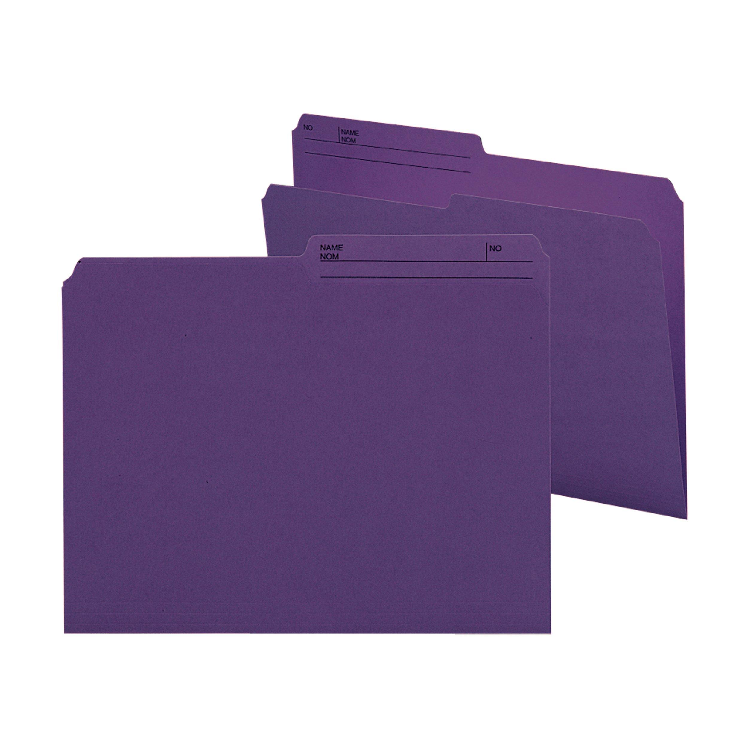 Smead Reversible File Folder, 1/2-Cut Printed Tab, Letter Size, Purple, 100 per Box (10378)