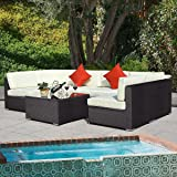 Tangkula 7 Pcs Outdoor Patio Wicker Furniture Sets Rattan Sofas with Cushion Brown