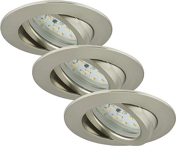 Briloner Leuchten 7209 032 LED Einbauleuchten 3er Set, Einbaustrahler schwenkbar, 230V, kein Trafo notwendig, Einbaulaulampe 5W, warm weiß, flache