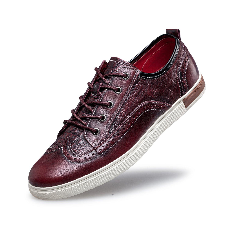 ZRO Men's Wingtip Casual Leather Oxford Sneaker Shoes Wine US 11 by ZRO (Image #1)