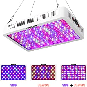 HIGROW Optical Lens-Series 600W Full Spectrum LED Grow Light for Indoor Plants Veg and Flower, Garden Greenhouse Hydroponic Plant Growing Lights (12-Band, 5W/LED)