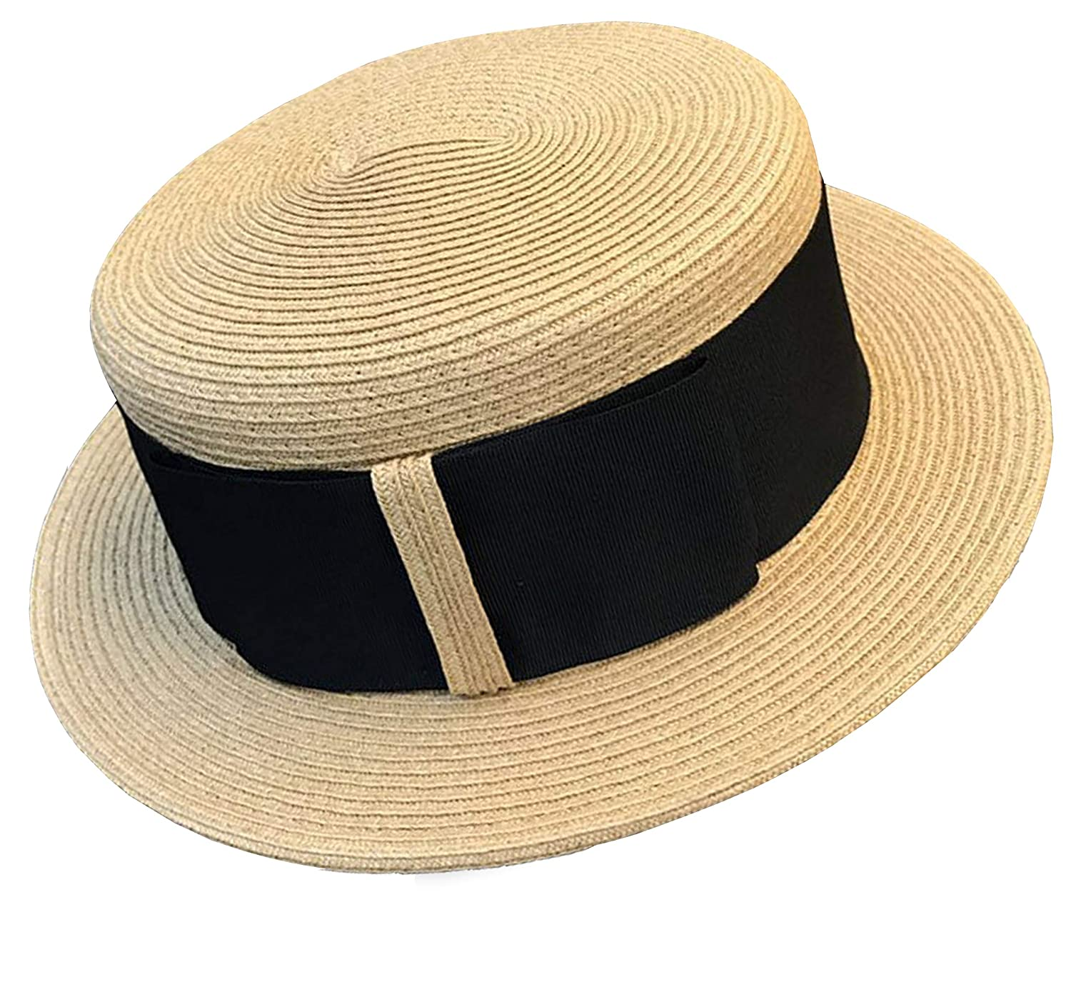 Tea Party Hats – Victorian to 1950s Melniko City Womens Straw Boater Summer Hat Flat Top Retro 1920 $23.38 AT vintagedancer.com
