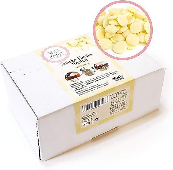 emball/és individuellement d/élice fondant r/égal pour fontaine de chocolat et kits de fondue qualit/é sup/érieure Sweet Wishes 900g copeaux de chocolat blanc /à fondue belge 10 sachets de 90g chacun