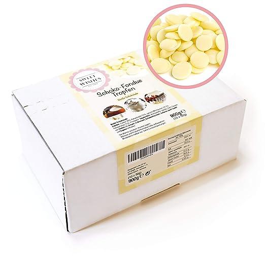 Sweet Wishes Gotas de chocolate blanco belga para fondue. 900 gr. Una delicia suave para fuentes o fondue de chocolate. 10 sobres embalados individualmente.