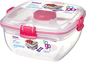 Sistema To Go Collection Salad Food Storage Container, 37 oz./1 L, Clear/Pink